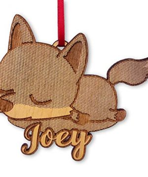 Custom Ornaments By Stocking Factory Sleeping Fox Babys First Ornament Kids Birthday Party Gift For Son Rustic Holiday Engraved Gift For Christmas Tree 0 300x360