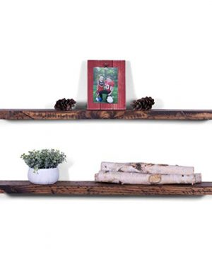 DAKODA LOVE Floating Shelves Solid Wood 36 X 525 Set Of 2 Bourbon Rugged Distressed Wall Mounted Floating Bookshelves Decorative Floating Shelving Reclaimed Look Rustic Floating Shelf 0 300x360