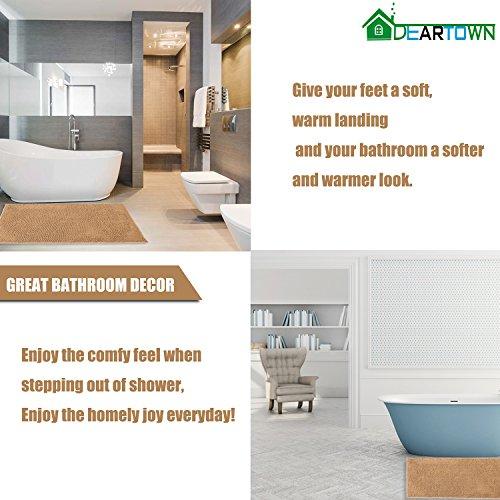 DEARTOWN Non Slip Shaggy Bathroom Rug47x275 InchesMarzipanSoft Microfibers Chenille Bath Mat With Water Absorbent Machine Washable 0 3