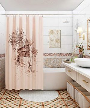 DESIHOM Farmhouse Shower Curtain Rustic Shower Curtain Fall Shower Curtain Farmhouse Curtains Polyester Waterproof Shower Curtain 709 Inch 0 0 300x360
