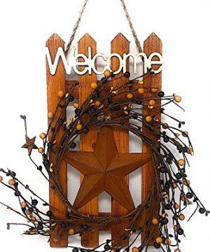 DI Inc Welcome Wood Metal Star 3D Rustic Sign Wreath Wall Barn Front Door Decor Indoor Outdoor 16 X 12 MultCol Rustic Stars 0 300x360