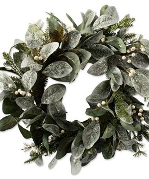DII Decorative Flocked Leaves Berries 20 Winter Wreath For Front Door Or Indoor Wall Dcor To Celebrate Christmas Winter Season 0 300x360