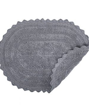 DII Ultra Soft Spa Cotton Crochet Oval Bath Mat Or Rug Place In Front Of Shower Vanity Bath Tub Sink And Toilet 21 X 34 Gray 0 1 300x360