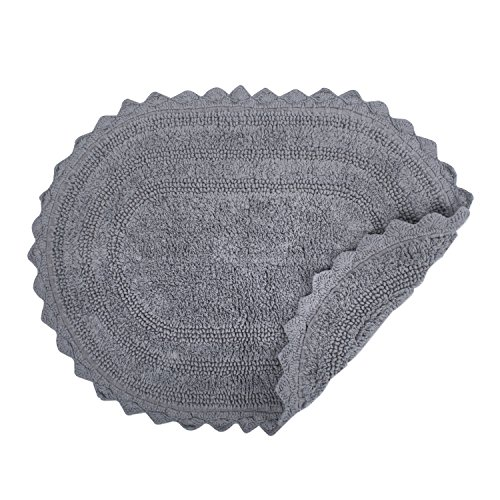 DII Ultra Soft Spa Cotton Crochet Oval Bath Mat Or Rug Place In Front Of Shower Vanity Bath Tub Sink And Toilet 21 X 34 Gray 0 1