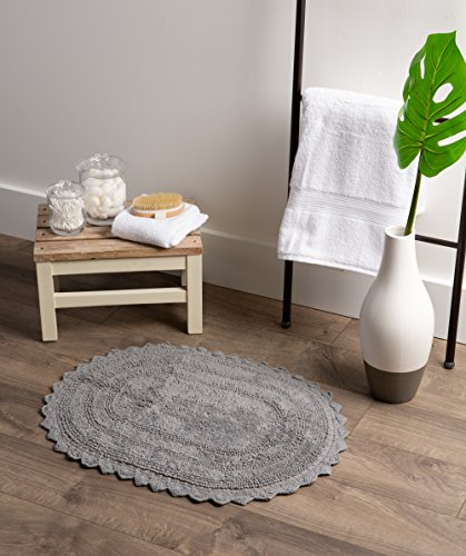 DII Ultra Soft Spa Cotton Crochet Oval Bath Mat Or Rug Place In Front Of Shower Vanity Bath Tub Sink And Toilet 21 X 34 Gray 0 2