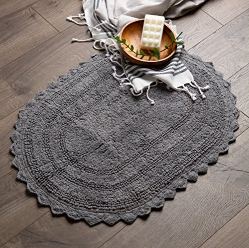 DII Ultra Soft Spa Cotton Crochet Oval Bath Mat Or Rug Place In Front Of Shower Vanity Bath Tub Sink And Toilet 21 X 34 Gray 0 3