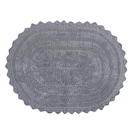 DII-Ultra-Soft-Spa-Cotton-Crochet-Oval-Bath-Mat-or-Rug-Place-in-Front-of-Shower-Vanity-Bath-Tub-Sink-and-Toilet-21-x-34-Gray-0