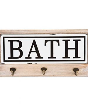 DII Vintage Farmhouse Style Tiled Sign With Hooks Bath 0 300x360