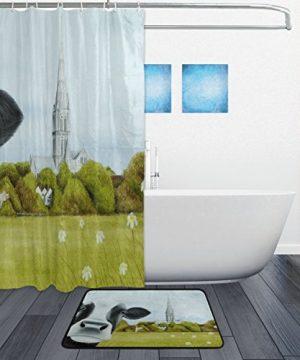 DJROW Farmhouse Cow Shower Curtain And Bath Mat SetIncludes 72x72 Bathtub Waterproof Curtains And 236x157 Floor Mat 0 0 300x360