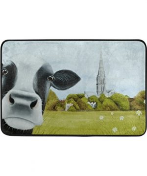 DJROW Farmhouse Cow Shower Curtain And Bath Mat SetIncludes 72x72 Bathtub Waterproof Curtains And 236x157 Floor Mat 0 3 300x360