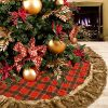 DOYOLLA 48inch Buffalo Plaid Christmas Tree Skirt With Gorgeous Dark Grey Faux Fur Trim Border For Christmas Holiday Decorations 0 100x100