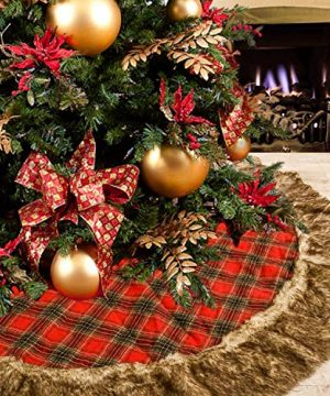 DOYOLLA 48inch Buffalo Plaid Christmas Tree Skirt With Gorgeous Dark Grey Faux Fur Trim Border For Christmas Holiday Decorations 0 300x360