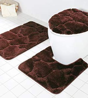Daniels Bath Byound 3PC River Rocks Brown BATHMAT Set Bath Rug 20 W X 31 L Toilet Seat Cover 17 W X 18 L Bath Contour 20 X 21 0 300x333