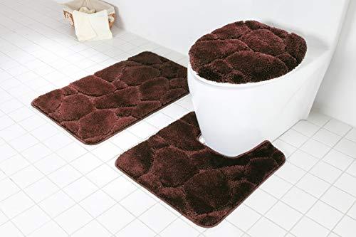 Daniels Bath Byound 3PC River Rocks Brown BATHMAT Set Bath Rug 20 W X 31 L Toilet Seat Cover 17 W X 18 L Bath Contour 20 X 21 0
