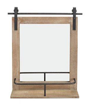 Danya B Rustic Industrial Wood Framed Wall Mount Barn Door Vanity Mirror With Shelf And Iron Hardware Decorative Rectangle Bathroom Mirror 0 300x360