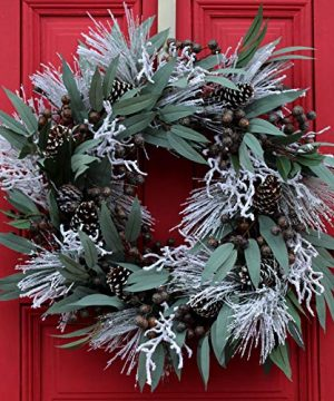 Darby Creek Trading Rustic Winter Eucalyptus And Snow Berry Christmas Holiday Front Door Wreath 0 300x360