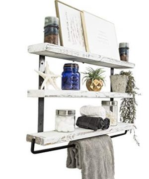 Del Hutson Designs Industrial 3 Tier Floating Shelf With Towel Bar 36 Inch White 0 0 300x360