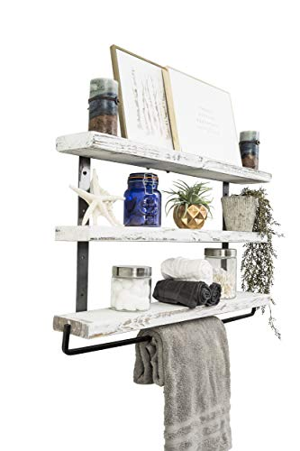 Del Hutson Designs Industrial 3 Tier Floating Shelf With Towel Bar 36 Inch White 0 0
