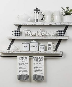 Del Hutson Designs Industrial 3 Tier Floating Shelf With Towel Bar 36 Inch White 0 1 300x360