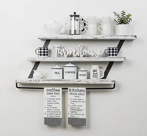 Del Hutson Designs Industrial 3 Tier Floating Shelf With Towel Bar 36 Inch White 0 1
