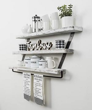 Del Hutson Designs Industrial 3 Tier Floating Shelf With Towel Bar 36 Inch White 0 2 300x360