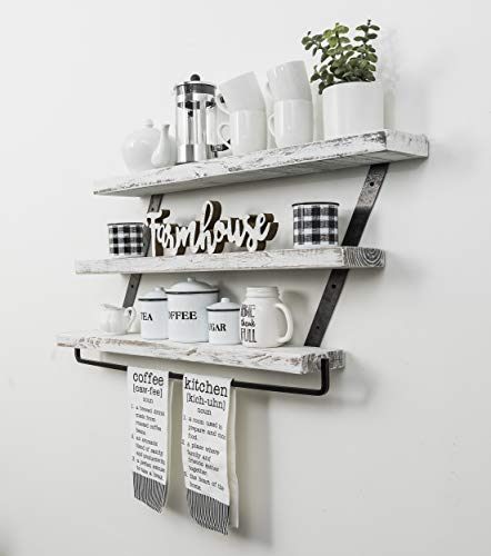 Del Hutson Designs Industrial 3 Tier Floating Shelf With Towel Bar 36 Inch White 0 2