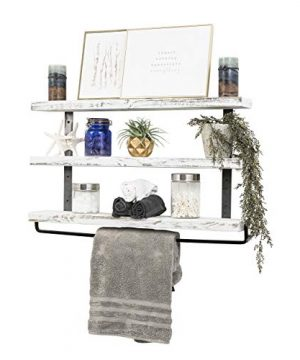 Del Hutson Designs Industrial 3 Tier Floating Shelf With Towel Bar 36 Inch White 0 3 300x360