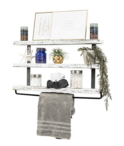 Del Hutson Designs Industrial 3 Tier Floating Shelf With Towel Bar 36 Inch White 0 3