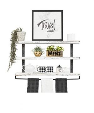 Del Hutson Designs Industrial 3 Tier Floating Shelf With Towel Bar 36 Inch White 0 300x360