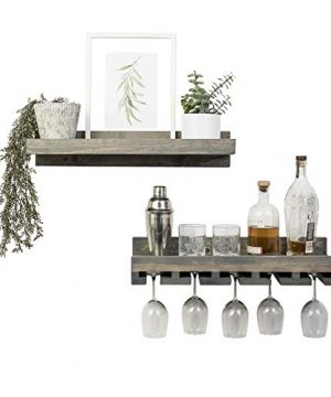 Del Hutson Designs Rustic Real Wood Wall Mounted Wine Bottle Rack Stemware Hanger Set Farmhouse Kitchen Dining Grey 24 Inch 2 FT 0 0 300x360