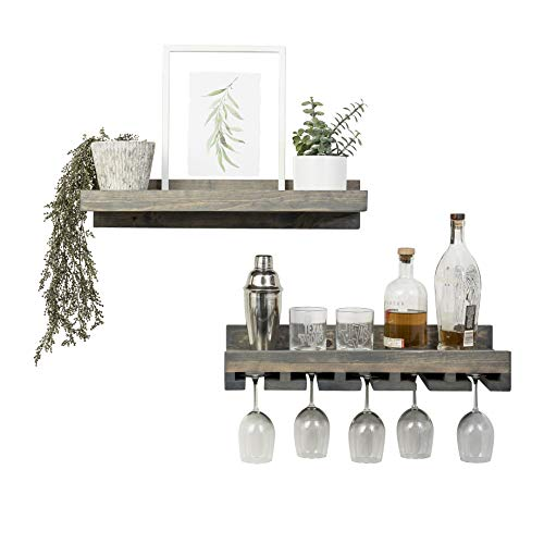 Del Hutson Designs Rustic Real Wood Wall Mounted Wine Bottle Rack Stemware Hanger Set Farmhouse Kitchen Dining Grey 24 Inch 2 FT 0 0