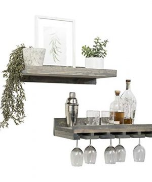 Del Hutson Designs Rustic Real Wood Wall Mounted Wine Bottle Rack Stemware Hanger Set Farmhouse Kitchen Dining Grey 24 Inch 2 FT 0 1 300x360