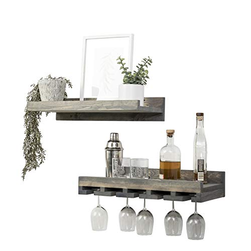 Del Hutson Designs Rustic Real Wood Wall Mounted Wine Bottle Rack Stemware Hanger Set Farmhouse Kitchen Dining Grey 24 Inch 2 FT 0