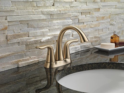 Delta Faucet Lahara 2 Handle Centerset Bathroom Faucet With Diamond Seal Technology And Metal Drain Assembly Champagne Bronze 2538 CZMPU DST 0 0