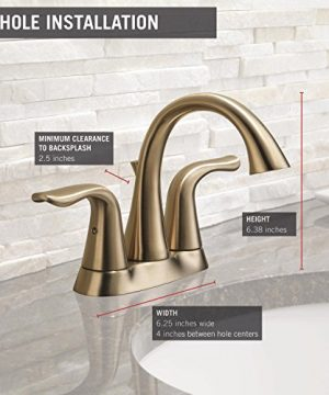 Delta Faucet Lahara 2 Handle Centerset Bathroom Faucet With Diamond Seal Technology And Metal Drain Assembly Champagne Bronze 2538 CZMPU DST 0 1 300x360
