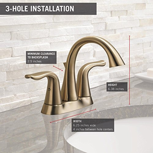 Delta Faucet Lahara 2 Handle Centerset Bathroom Faucet With Diamond Seal Technology And Metal Drain Assembly Champagne Bronze 2538 CZMPU DST 0 1