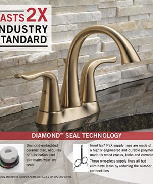 Delta Faucet Lahara 2 Handle Centerset Bathroom Faucet With Diamond Seal Technology And Metal Drain Assembly Champagne Bronze 2538 CZMPU DST 0 2 300x360