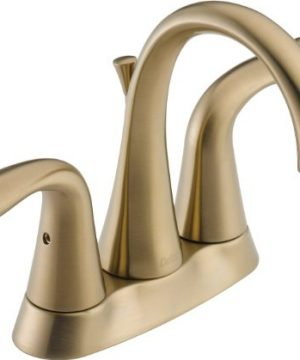 Delta Faucet Lahara 2 Handle Centerset Bathroom Faucet With Diamond Seal Technology And Metal Drain Assembly Champagne Bronze 2538 CZMPU DST 0 300x360
