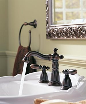 Delta Faucet Victorian 2 Handle Widespread Bathroom Faucet With Diamond Seal Technology And Metal Drain Assembly Venetian Bronze 3555 RBMPU DST 0 0 300x360