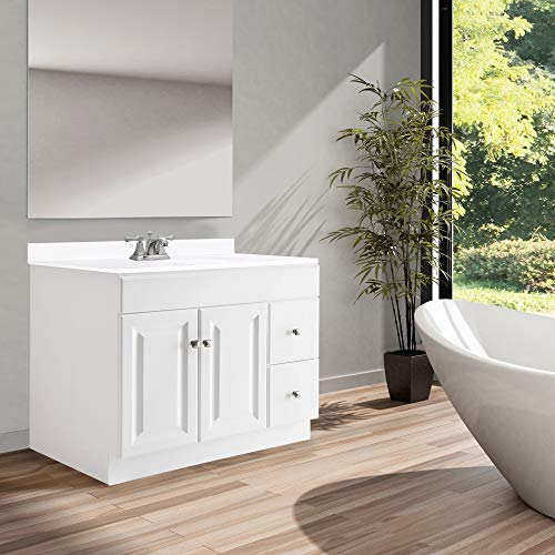 Design House 545095 Wyndham White Semi Gloss Vanity Cabinet With 2 Doors And 2 Drawers 36 Inches Wide By 21 Inches Deep By 315 Inches Tall 0 2