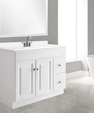 Design House 545095 Wyndham White Semi Gloss Vanity Cabinet With 2 Doors And 2 Drawers 36 Inches Wide By 21 Inches Deep By 315 Inches Tall 0 3 300x360