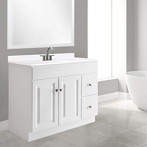 Design House 545095 Wyndham White Semi Gloss Vanity Cabinet With 2 Doors And 2 Drawers 36 Inches Wide By 21 Inches Deep By 315 Inches Tall 0 3