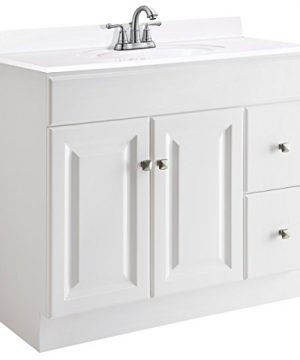 Design House 545095 Wyndham White Semi Gloss Vanity Cabinet With 2 Doors And 2 Drawers 36 Inches Wide By 21 Inches Deep By 315 Inches Tall 0 300x360