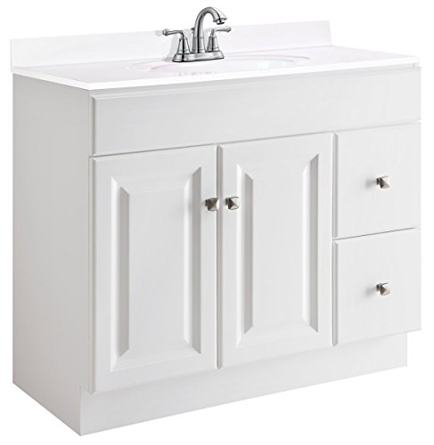 Design House 545095 Wyndham White Semi Gloss Vanity Cabinet With 2 Doors And 2 Drawers 36 Inches Wide By 21 Inches Deep By 315 Inches Tall 0