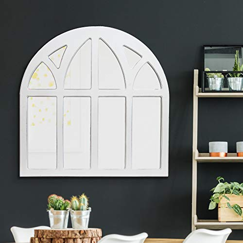 Distressed White Farmhouse Cathedral Windowpane Wall Mirror 0 2