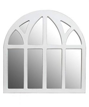 Distressed White Farmhouse Cathedral Windowpane Wall Mirror 0 300x360