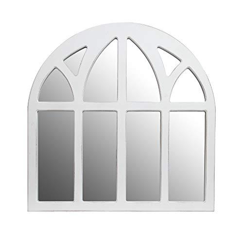 Distressed White Farmhouse Cathedral Windowpane Wall Mirror 0