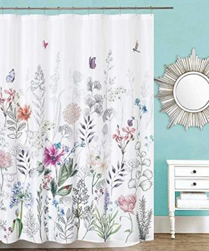 Dosly Home Flowers Colorful White Shower Curtain With 12 Hooks For BathroomEmbroidery ButterflyFarmhouse And Rustic Large Floral CurtainsWaterproof 0 300x360
