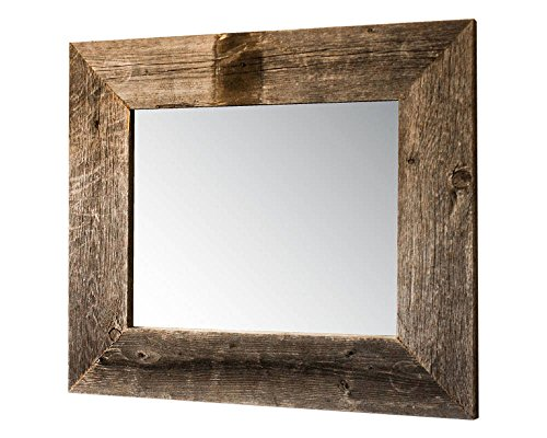 Drakestone Designs Mirror With Barnwood Frame Wall Mount Handmade Rustic Reclaimed Wood 22 X 26 Inches Natural 0