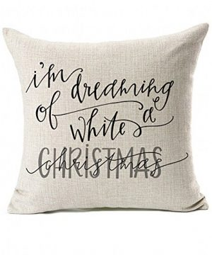 Dreaming White Christmas Throw Pillow Case Cushion Cover Decor Cotton Linen 18 X 18 0 300x360